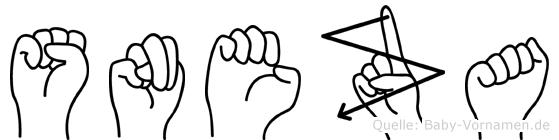 Sneza im Fingeralphabet der Deutschen Gebärdensprache