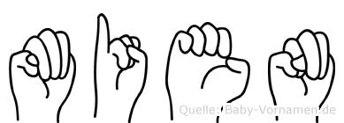 Mien im Fingeralphabet der Deutschen Gebärdensprache