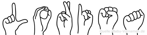 Lorisa im Fingeralphabet der Deutschen Gebärdensprache