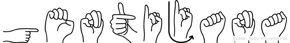 Gentijana im Fingeralphabet der Deutschen Gebärdensprache