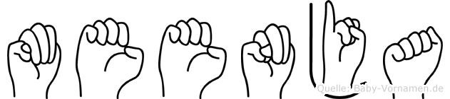 Meenja im Fingeralphabet der Deutschen Gebärdensprache