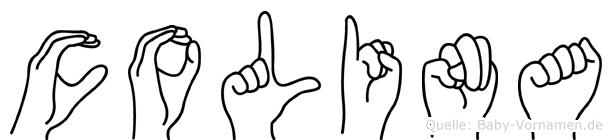 Colina im Fingeralphabet der Deutschen Gebärdensprache