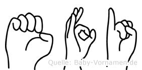 Efi in Fingersprache für Gehörlose