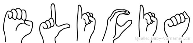 Elicia im Fingeralphabet der Deutschen Gebärdensprache