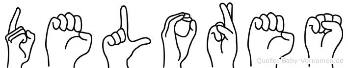 Delores im Fingeralphabet der Deutschen Gebärdensprache