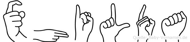 Xhilda in Fingersprache für Gehörlose