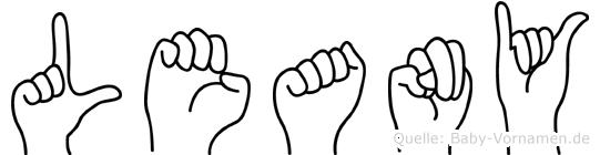 Leany im Fingeralphabet der Deutschen Gebärdensprache