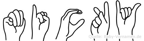 Micky im Fingeralphabet der Deutschen Gebärdensprache