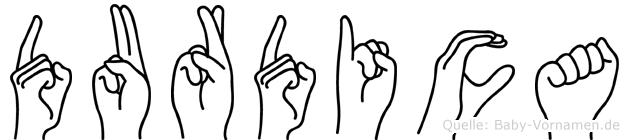 Durdica im Fingeralphabet der Deutschen Gebärdensprache