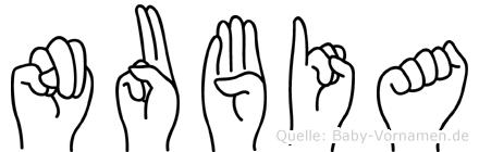 Nubia im Fingeralphabet der Deutschen Gebärdensprache