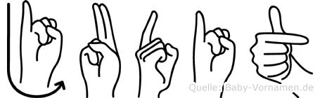 Judit im Fingeralphabet der Deutschen Gebärdensprache