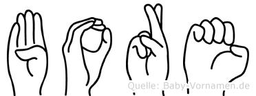 Bore im Fingeralphabet der Deutschen Gebärdensprache