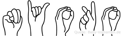 Nyoko im Fingeralphabet der Deutschen Gebärdensprache
