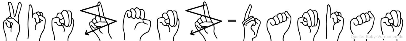 Vinzenz-Damian im Fingeralphabet der Deutschen Gebärdensprache