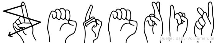Zederik im Fingeralphabet der Deutschen Gebärdensprache