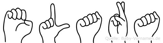 Elara im Fingeralphabet der Deutschen Gebärdensprache