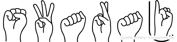 Swaraj im Fingeralphabet der Deutschen Gebärdensprache