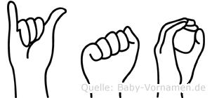 Yao im Fingeralphabet der Deutschen Gebärdensprache
