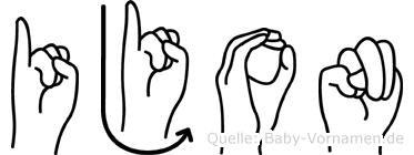 Ijon im Fingeralphabet der Deutschen Gebärdensprache