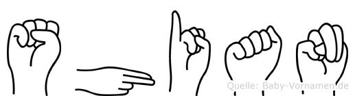 Shian im Fingeralphabet der Deutschen Gebärdensprache