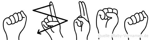 Azusa in Fingersprache für Gehörlose
