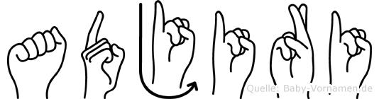 Adjiri im Fingeralphabet der Deutschen Gebärdensprache
