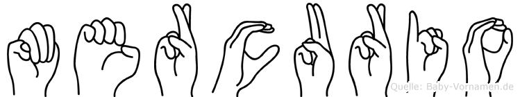 Mercurio im Fingeralphabet der Deutschen Gebärdensprache