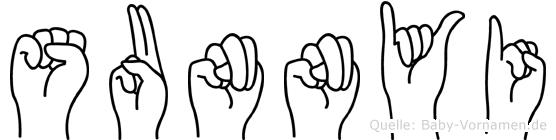 Sunnyi im Fingeralphabet der Deutschen Gebärdensprache