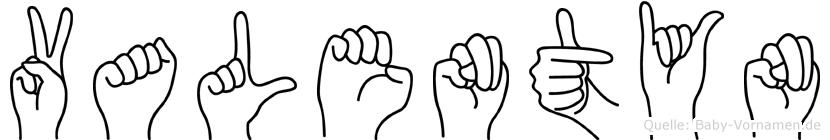 Valentyn im Fingeralphabet der Deutschen Gebärdensprache