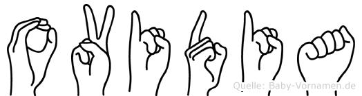Ovidia im Fingeralphabet der Deutschen Gebärdensprache
