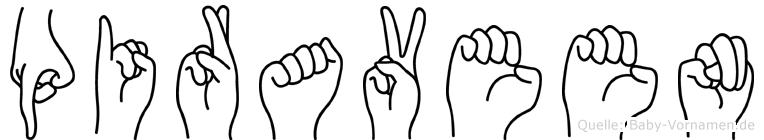 Piraveen im Fingeralphabet der Deutschen Gebärdensprache