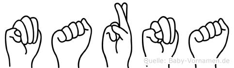 Marna im Fingeralphabet der Deutschen Gebärdensprache