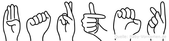Bartek im Fingeralphabet der Deutschen Gebärdensprache