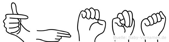 Thena im Fingeralphabet der Deutschen Gebärdensprache