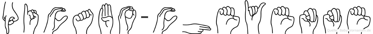 Picabo-Cheyenne im Fingeralphabet der Deutschen Gebärdensprache
