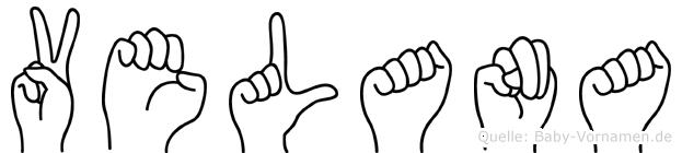 Velana im Fingeralphabet der Deutschen Gebärdensprache