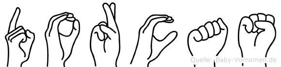 Dorcas im Fingeralphabet der Deutschen Gebärdensprache