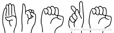 Bieke in Fingersprache für Gehörlose