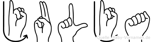 Julja im Fingeralphabet der Deutschen Gebärdensprache