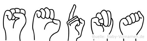 Sedna im Fingeralphabet der Deutschen Gebärdensprache