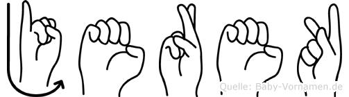 Jerek im Fingeralphabet der Deutschen Gebärdensprache