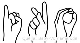 Iko im Fingeralphabet der Deutschen Gebärdensprache