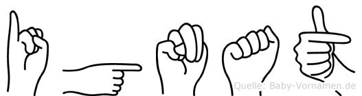 Ignat im Fingeralphabet der Deutschen Gebärdensprache