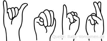 Ymir im Fingeralphabet der Deutschen Gebärdensprache