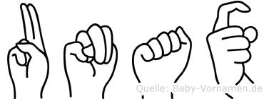 Unax im Fingeralphabet der Deutschen Gebärdensprache
