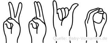 Vuyo im Fingeralphabet der Deutschen Gebärdensprache