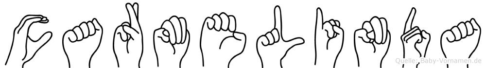 Carmelinda im Fingeralphabet der Deutschen Gebärdensprache