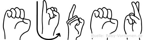 Ejder im Fingeralphabet der Deutschen Gebärdensprache