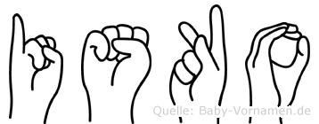 Isko im Fingeralphabet der Deutschen Gebärdensprache