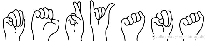 Meryana im Fingeralphabet der Deutschen Gebärdensprache